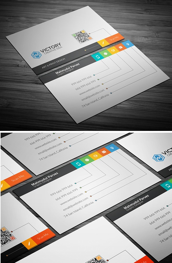 creative business card free psd template clean minimalistic flat