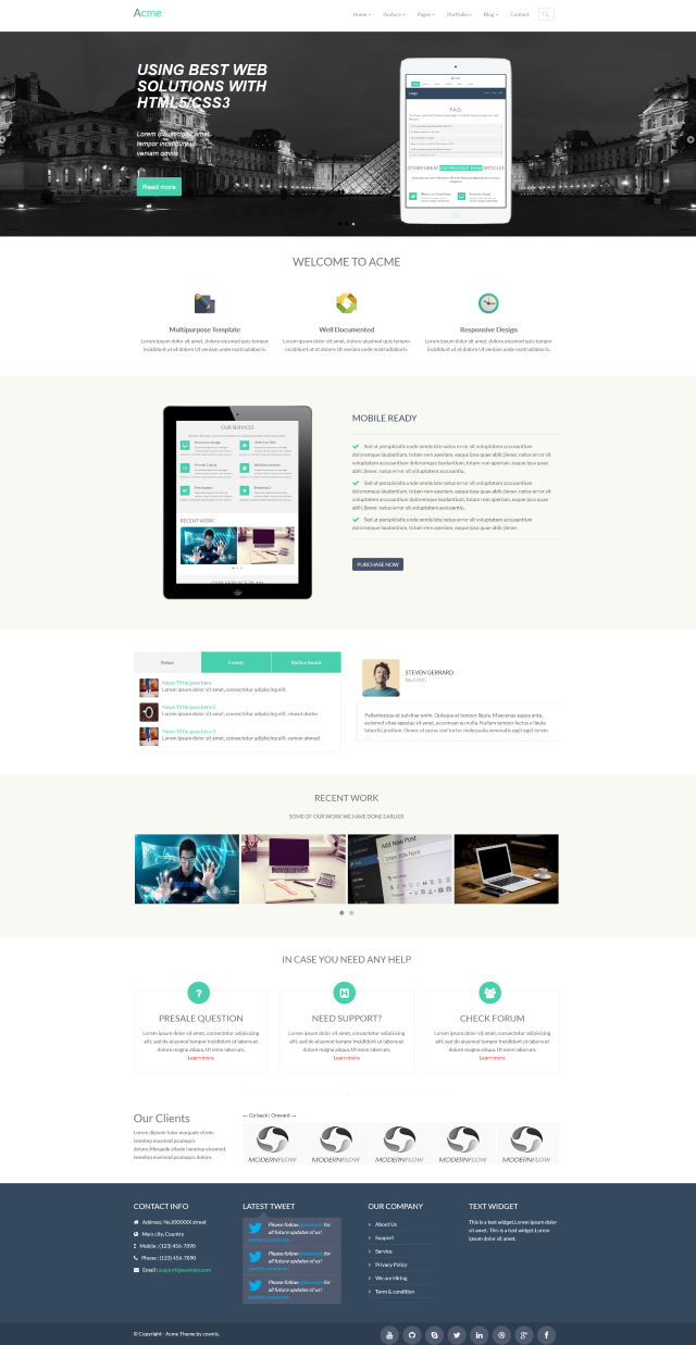Acme free responsive bootstrap corporate template theme / lucasoft