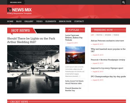 News Mix free html5 and css3 WordPress green theme aimed at news ...